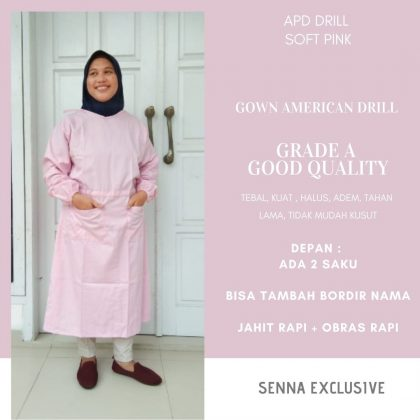 Gown APD Drill Jubah Operasi Kudus Jakarta GOWN APD KAIN DRill Gown Surgical Apron Bedah Seragam Perawat
